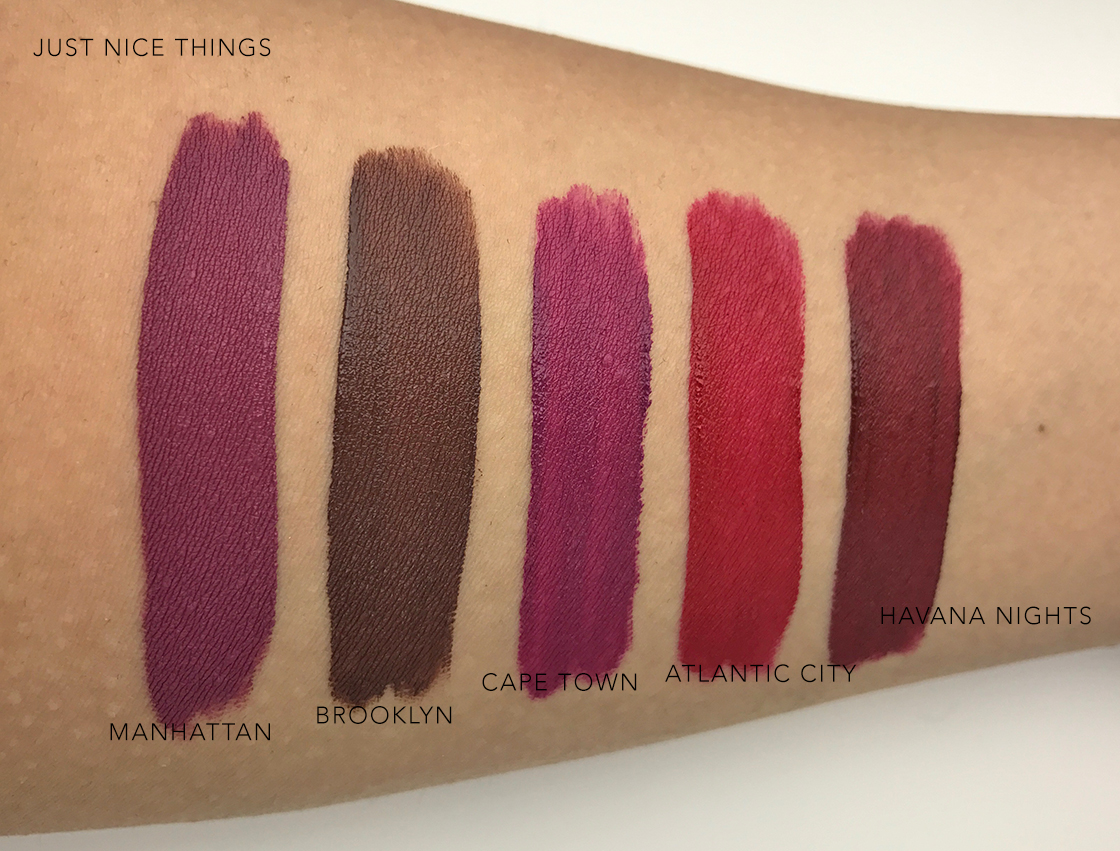 OFRA Lasting Liquid Lipstick swatches under artificial light
